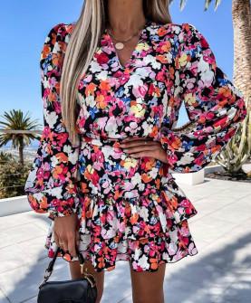 Γυναικείο φόρεμα με φλοράλ ντεσέν 21347