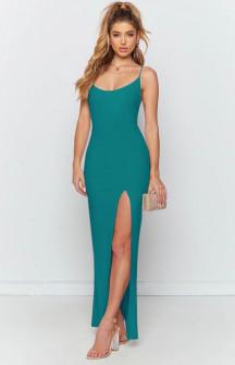 Μακρύ φόρεμα με σκίσιμο 5204 τυρκουάζ