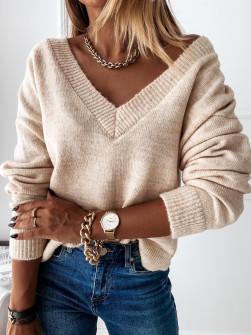 Γυναικεία μπλούζα με βαθύ ντεκολτέ 00690 μπεζ