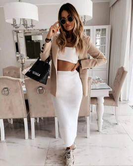 Γυναικεία μακριά φούστα 3508 άσπρη