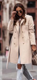 Γυναικείο διπλοκούμπωτο παλτό με φόδρα 6052 μπεζ