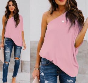 Χαλαρή μπλούζα με έναν ώμο 5084 ροζ