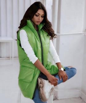Γυναικείο αμάνικο μπουφάν με τσέπες 82225 πράσινο