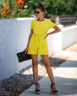 Γυναικεία ολόσωμη φόρμα με ζώνη κορδέλα 5085 κίτρινη