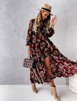 Γυναικείο φόρεμα με ασύμμετρο πίσω μέρος 56306 μπορντό