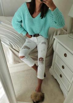Γυναικείο πουλόβερ με βαθύ ντεκολτέ 00721 μέντα
