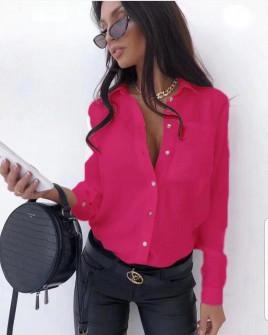 Γυναικείο μονόχρωμο πουκάμισο 3295 φούξια