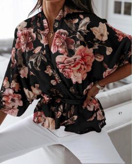 Γυναικεία μπλούζα με κορδόνι στη μέση 5033 μαύρο