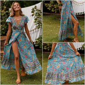 Γυναικείο φόρεμα κρουαζέ με έθνικ σχέδια 559904