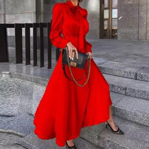 Γυναικείο φόρεμα σατέν με φιόγκο στο λαιμό 2525 κόκκινο