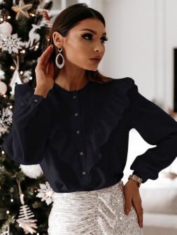 Γυναικείο πουκάμισο με εντυπωσιακό ντεκολτέ 3963 μαύρο