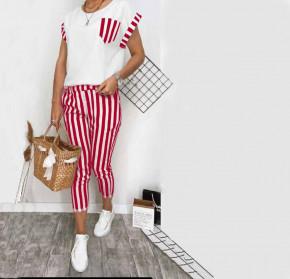 Γυναικείο σετ παντελόνι και μπλούζα 21102 κόκκινο