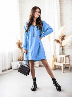 Γυναικείο φόρεμα με φερμουάρ 19877 γαλάζιο