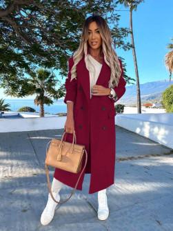 Γυναικείο μακρύ παλτό με φόδρα 5893 μπορντό