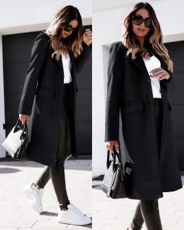 Γυναικείο παλτό μίντι με φόδρα 5361 μαύρο