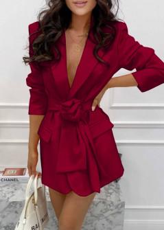 Γυναικείο σακάκι με φόδρα και ζώνη 5906 μπορντό