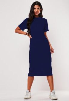 Γυναικείο φόρεμα μίντι 13387 σκούρο μπλε