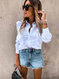 Γυναικείο πουκάμισο με βολάν 8554 άσπρο