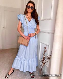 Γυναικείο μακρύ μονόχρωμο φόρεμα 8151 γαλάζιο