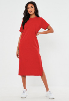 Γυναικείο φόρεμα μίντι 13387 κόκκινο