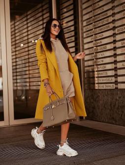 Γυναικείο παλτό με κουμπιά από τις δυο πλευρές 5356 μουσταρδί