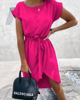 Γυναικείο φόρεμα κρουαζέ 30688 φούξια