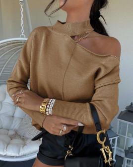 Γυναικεία εντυπωσιακή μπλούζα 8095 καμηλό