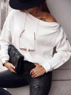 Γυναικεία μπλούζα με κουμπιά 15184 άσπρο