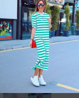 Γυναικείο μακρύ φόρεμα με κοντό μανίκι 5141 πράσινο