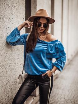 Γυναικεία μπλούζα βελουτέ 3294 μπλε