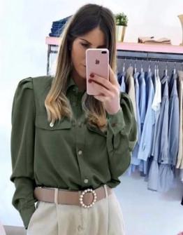 Γυναικείο πουκάμισο με τσέπες 2046 πράσινη