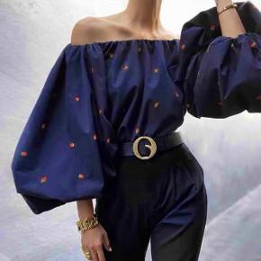 Γυναικεία μπλούζα με φουσκωτό μανίκι 3702 σκούρο μπλε