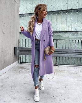 Γυναικείο εφαρμοστό παλτό με φόδρα 5972  λιλά