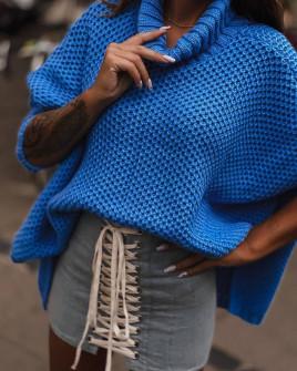 Γυναικείο πουλόβερ ζιβάγκο 1026 μπλε