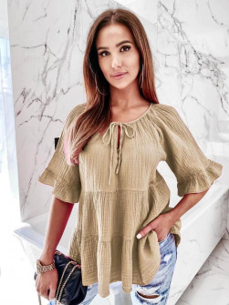 Γυναικεία χαλαρή μπλούζα 8195 καμηλό