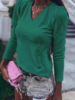 Γυναικεία μπλούζα βελουτέ με βαθύ ντεκολτέ 33205 πράσινη