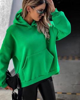 Γυναικείο χοντρό φούτερ με κουκούλα 4903 πράσινο
