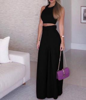 Γυναικείο σετ τοπάκι και παντελόνι με ζώνη 908990 μαύρο