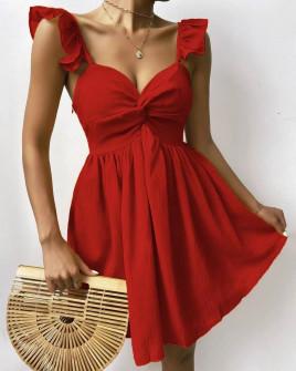 Γυναικείο εντυπωσιακό φόρεμα 27872  κόκκινο