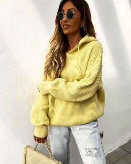 Γυναικεία πλεκτή μπλούζα με κουκούλα 00828 κίτρινο