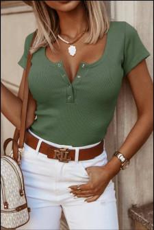 Γυναικείο κοντομάνικο μπλουζάκι 5586 σκούρο πράσινο