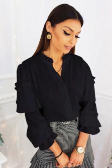 Γυναικεία μπλούζα με εντυπωσιακό μανίκι 3959 μαύρη