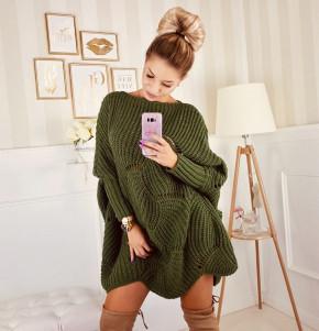 Γυναικείο πλεκτό μπλουζοφόρεμα 7115 σκούρο πράσινο