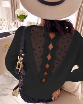 Γυναικεία μπλούζα με εντυπωσιακή πλάτη 3251 μαύρη