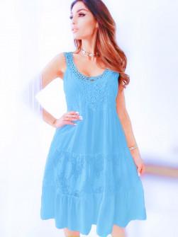 Γυναικείο φόρεμα με δαντέλα 33501 γαλάζιο