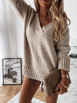 Γυναικείο χαλαρό πουλόβερ 8056 μπεζ