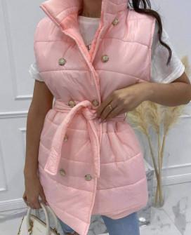 Γυναικείο μακρύ αμάνικο μπουφάν 82044 ροζ