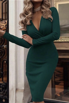 Γυναικείο φόρεμα κρουαζέ 3746 πράσινο
