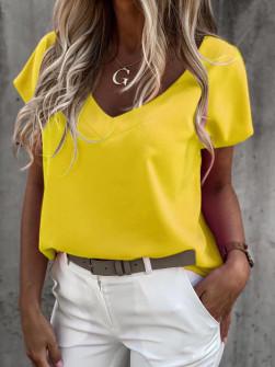 Γυναικείο κοντομάνικο με βαθύ ντεκολτέ 5068 κίτρινο