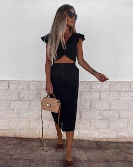Γυναικείο σετ φούστα και τοπάκι 21227 μαύρο